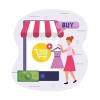 kvinna shopping klänning online med smartphone-teknik vektor