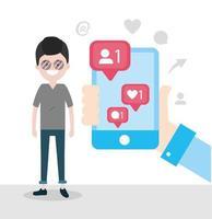 man med smartphone i handen och chattmeddelande