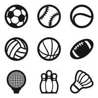 Ikonuppsättning av olika sportbollar och bowlingpinnar