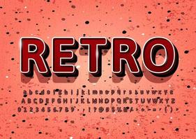 Vintage retro alfabet 3d vektor