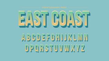 Fet färgad gradient 3D-typografi med skugga vektor