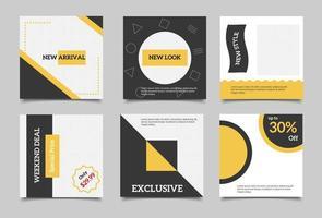 Redigerbara fyrkantiga sociala medier postmall. Minimalistisk design.