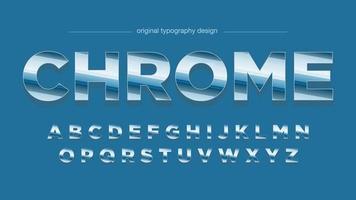 Blaue Retro Chrom-Typografie