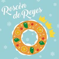 Roscon de Reyes. Königskuchen. Spanisches traditionelles Offenbarungs-Tagesgebäck.