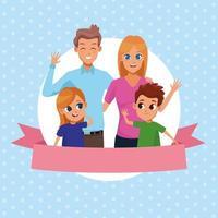 Familjeföräldrar och barnkarikarteckningar