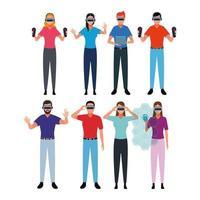 Gruppe von Menschen, die virtuelle Realität verwenden vektor