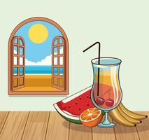 tropisk cocktaildrink med frukt vid fönsteraffisch