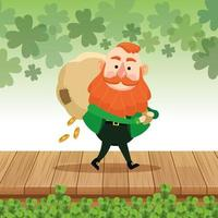 Saint Patrick's Day Elf mit undichten Sack Münzen vektor
