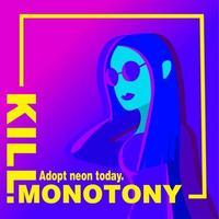 Ultraviolette Titelseite mit einer Frau in Neonfarben.