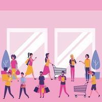 Folk shoppar på köpcentret
