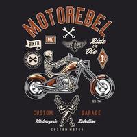 Skeleton Riding Motorebel, Custom Garage Biker vektor