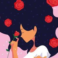 Profil av kvinnan med blommor vektor