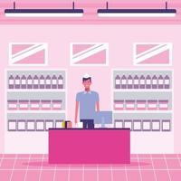 Supermarktkassierer, der an der Registrierkasse arbeitet