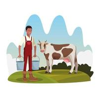Landwirt mit Kuh und zwei Eimern bewirtschaften ländliche Landschaft vektor