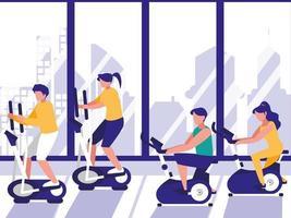 Menschen in der Spin-Klasse im Fitnessstudio vektor