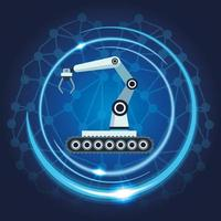 mechatronischer Roboterarm mit neuronalem Kartenhintergrund