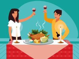 Paar feiert Erntedankfest vektor