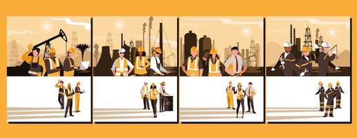 Ölindustrie Gruppenszenen und Arbeiter vektor