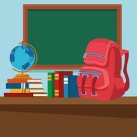 Skolklassrum med skrivbord och svart tavla vektor
