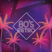 Retro Neon Galaxie mit Palmen Hintergrund