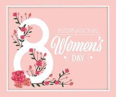 Rosen mit Zweigen verlässt zur Feier der Frauen Tages vektor