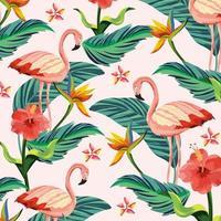 tropische Flamingos mit Blumenbetriebs- und -blatthintergrund vektor