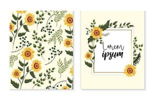 set kort med exotiska solrosor och grenar blad