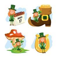 St Patrick Frau mit Boot und Pilzen