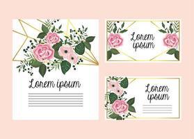 Uppsättning blommig kort med rosor