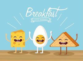 Tecknade frukostartiklar vektor