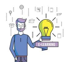 E-lärande tecknad koncept vektor
