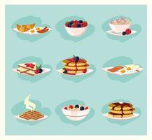 Set gesunde Frühstücksnahrungsmittel vektor
