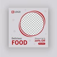 Social Media-Beitragsschablonendesign des köstlichen Lebensmittels vektor