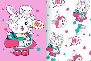 Handritad söt kanin med mönsteruppsättning