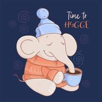 Elefant in einem Pullover und Hut mit Kakao