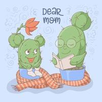 Kaktus Mutter und Tochter lesen