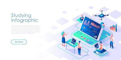 Studieren der isometrischen Landingpage für Infografik