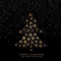 Goldener Weihnachtsbaum der Schneeflocken vektor