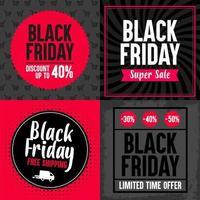 Uppsättning av fyra Black Friday-banners. Olika erbjudanden. vektor