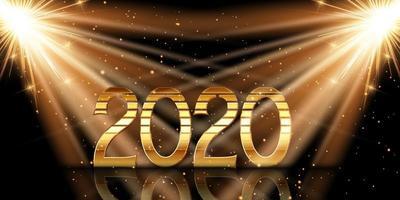 Guten Rutsch ins Neue Jahr-Hintergrund mit Goldzahlen unter Scheinwerfern