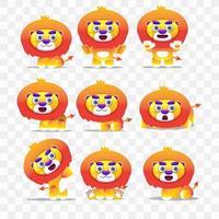 Tecknad lejon med olika poser och uttryck.