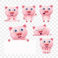 Tecknad gris med olika poser och uttryck. vektor