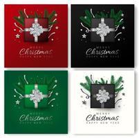 Grußkartensatz der frohen Weihnachten und des guten Rutsch ins Neue Jahr vektor
