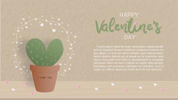 Valentinstagkarte mit nettem Kaktus vektor