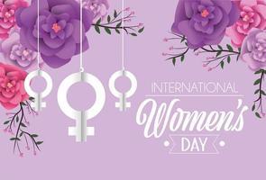 Frauen unterzeichnen das Hängen mit Rosen zur Feier der Frauen Tages vektor