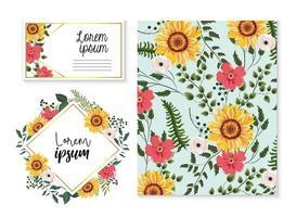 Set Karte und Etikett mit Sonnenblumen und Zweigen Blätter