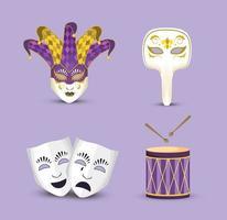 Stellen Sie Karnevalmasken mit Spassvogelhut und -trommel ein
