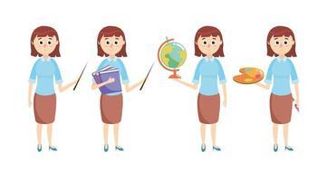 ange lärare med skolutrustning vektor
