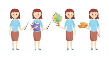 Set Lehrer mit Bildung Schulmaterial vektor