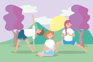 man och kvinnor som utbildar yogabalans
